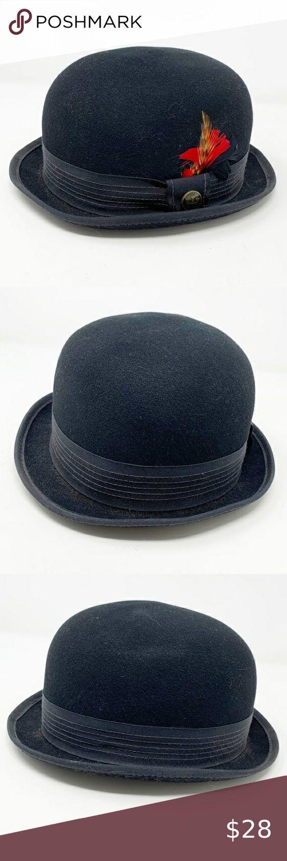 Goorin Bros Black Wool Bowler Hat Feather In 2021 Goorin Bowler Hat Black Wool