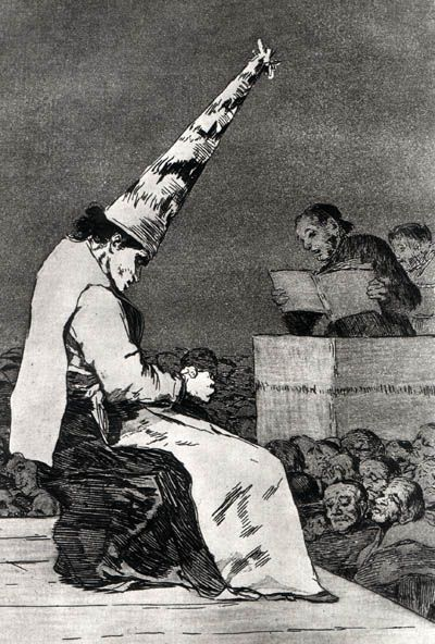 Francisco Goya- Capricho 23.  Sociedades en Contacto.  La Inquisición.