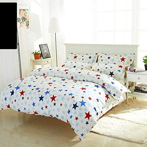 Yoioy Cotton Duvet Cover Set Blue Red Star Pattern Cotton Quilt Cover Single Piece 1 5m 1 8m 2 0m Bed Student Simple Single Double Q Home Decor Decor Furniture