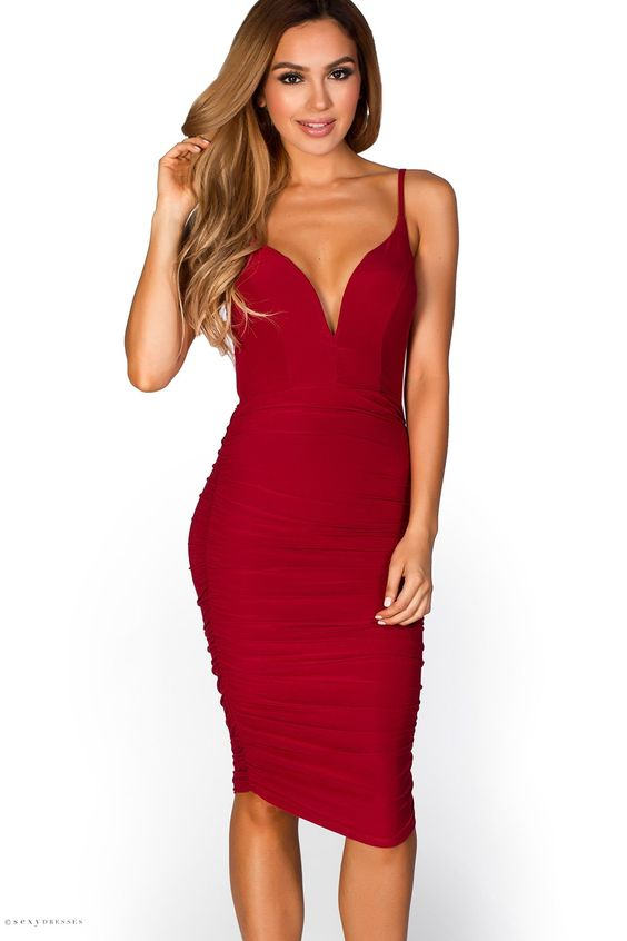 Alicia&quot- Burgundy Red Spaghetti Strap Plunging Sweetheart Bodycon ...