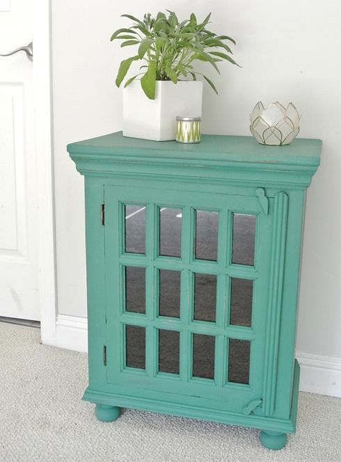a custom jade green color on a small cabinet created with florence olive chalk paint save learn more at centsationalgirlcom centsational girl painting furniture