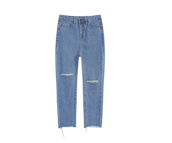 Women's High-Waist Frayed Cropped Straight Leg Jeans