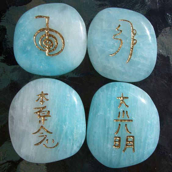 reiki, reiki symbols, clear, FOCUS, Power boost Symbol, Cho Ku Rei, Amethyst, engraved