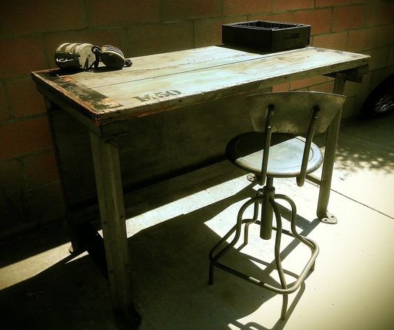 repurposed work bench into a nice vintage industrial desk