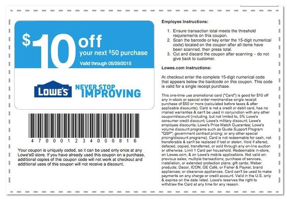 Coupons for improvements catalog store