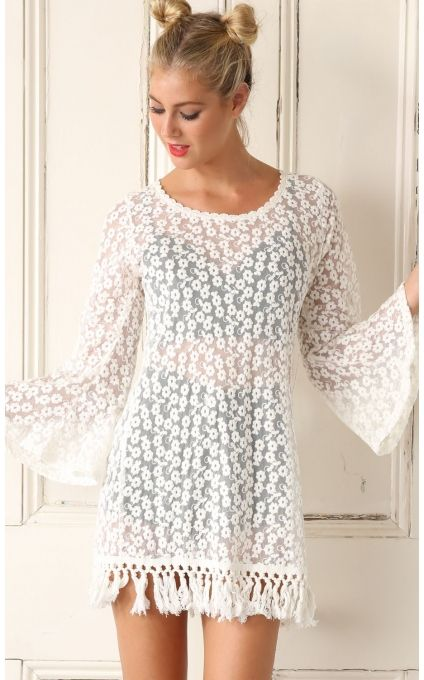 Tops > Sheer Floral Detailed White Lace Dress