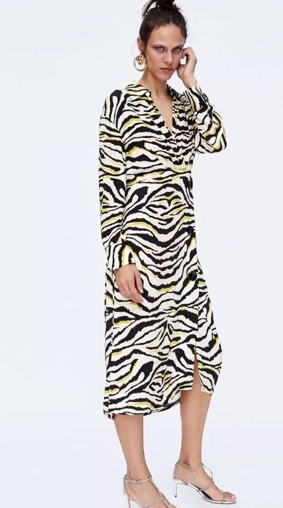 Zara Zebra Print Midi Shirt Dress Size Xs Nwt Fashion Clothing Shoes Accessories Womensclothing Dresses Ebay Zebra Print Dress Dresses Zebra Dress