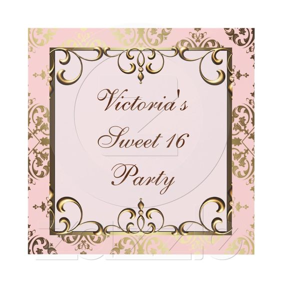 Pink and Gold Birthday Party Card Gold birthday party and - birthday invitation backgrounds