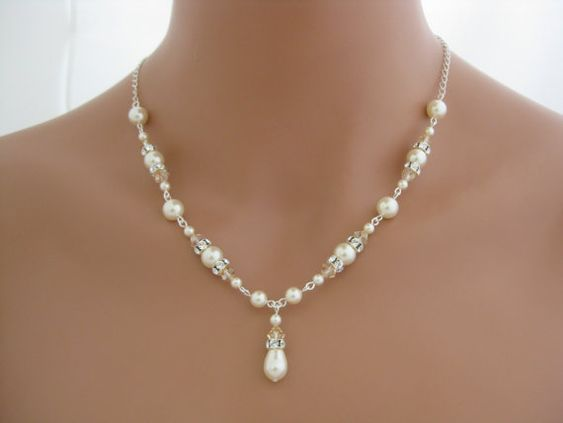 wedding jewelry bridesmaid necklace pearl by Clairesparklesbridal, <3