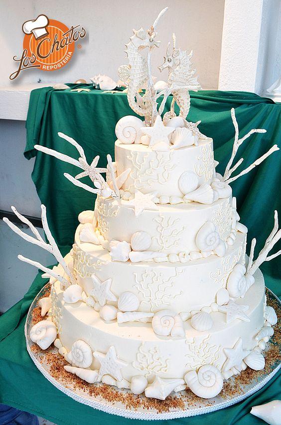 Pastel boda playa/Beach Wedding cake #loschatos # ...