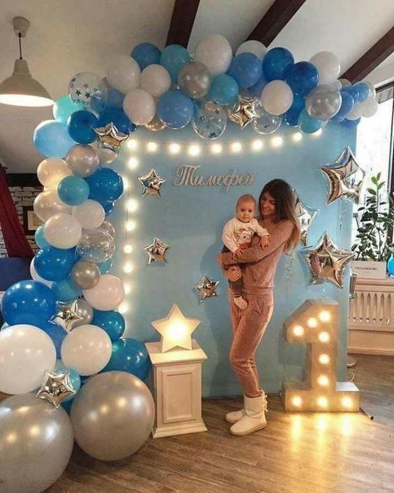 Ideas Para Celebrar El Primer Año Ideas Para Celebrar El Primer Año Manualidades Para Cumpleaños Baby Boy Birthday Baby Shower Balloons Baby Boy 1st Birthday