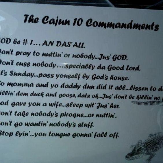 The Cajun commandments