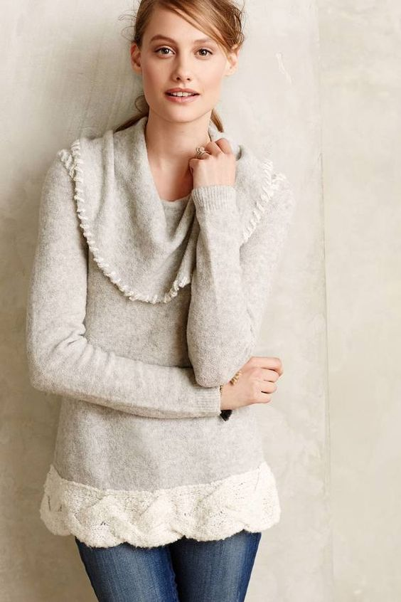 Sleeping on Snow Whipstitched Boucle Sweater #anthrofave