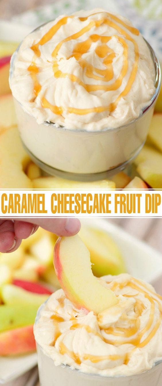 This easy Caramel Cheesecake Fruit Dip makes a great last minute addition for a party.  Serve it with your favourite type of apples and drizzle it with a little extra caramel sauce and you've got a hit on your hands!