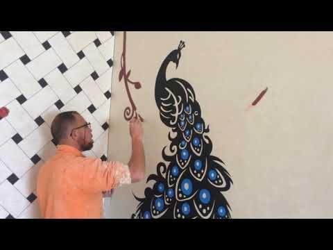 جداريات روعة للمنازل على شكل طاووس من تصميم جداريات ضوء القمر Youtube Crown Jewelry Jewelry
