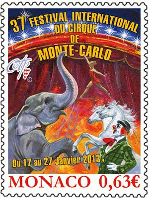 foreign postage stamps | ... -Monaco-Monte-Carlo-International-Circus-Festival-Postage-Stamp.gif