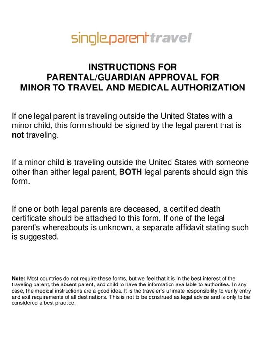 Travel And Medical Authorizationif One Legal Parent Traveling How