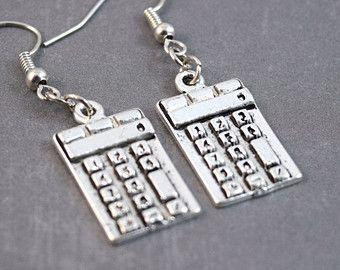 Calculator Earrings - Nerd Earrings - Electronic Earrings - Geeky Jewelry - Computer Earrings - Scientific Jewelry - Dangle Earrings