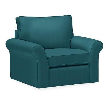 PB Comfort Roll Arm Upholstered Swivel Armchair, Box Edge Down Blend Wrapped Cushions, Vintage Velvet Bali