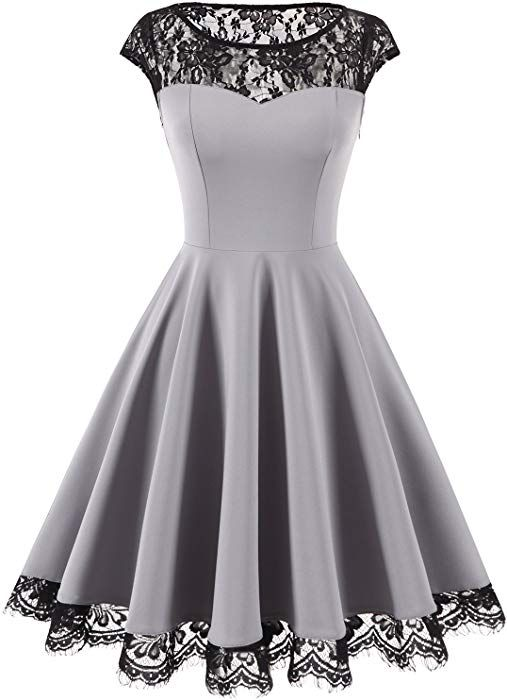 Homrain Damen 1950er Elegant Spitzenkleid Rundhals Knielang Festlich Cocktail Abendkleid Grey L Amazon De Bekleidung Mode In 2019 Schone Kleider Schone Kleidung Und Kleidung
