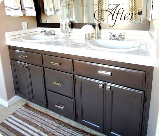 Cabinet makeover for builder oak vanity paint valspar betsy ross house brown mirror frame - Painting bathroom cabinets black ...