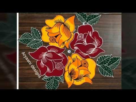 Latest Beautiful Roses Rangoli 7 To 3 Dots Small Newyear Special Kolam Apartment Rango Rangoli Border Designs New Rangoli Designs Rangoli Kolam Designs
