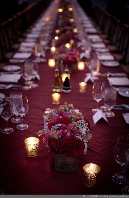 Burgundgy and gold wedding reception table. For more idea's check out our 2015 wedding colours board  https://www.pinterest.com/EzeEvents/10-wedding-colour-palettes-we-love-for-2015/