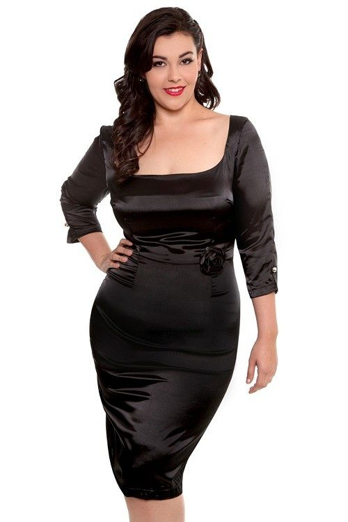 Black Satin Dress | chubby Girls | Pinterest | Satin dresses ...