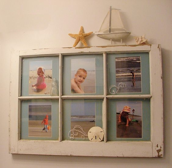 I made this for my beach themed bathroom out of an old for Bathroom picture frame ideas