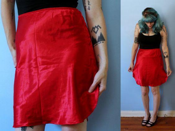 Vintage Red Half Slip // Frederick's of Hollywood Silky Sexy Skirt Slip…