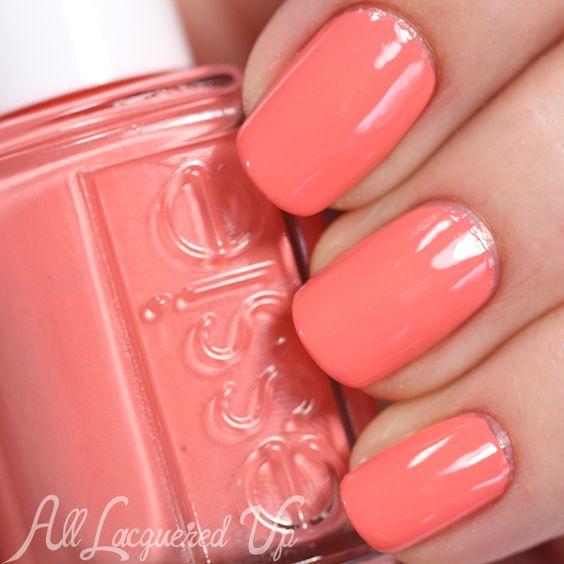 Essie Peach Side Babe coral nail polish / lacquer / varnish swatch - Summer 2015 via @alllacqueredup