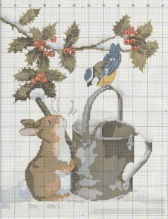 <3 Cross-stitch Winter... no color chart available, just use pattern chart as your color guide
