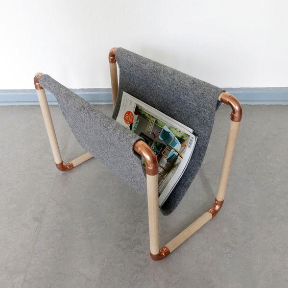 Zeitschriftenständer LUKEA aus Holz und Kupfer