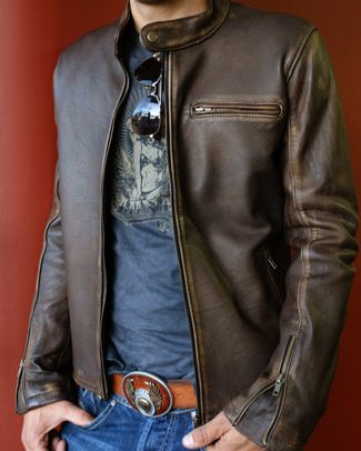 Details about R79 Genuine Leather Jacket Distressed Brown Cafe