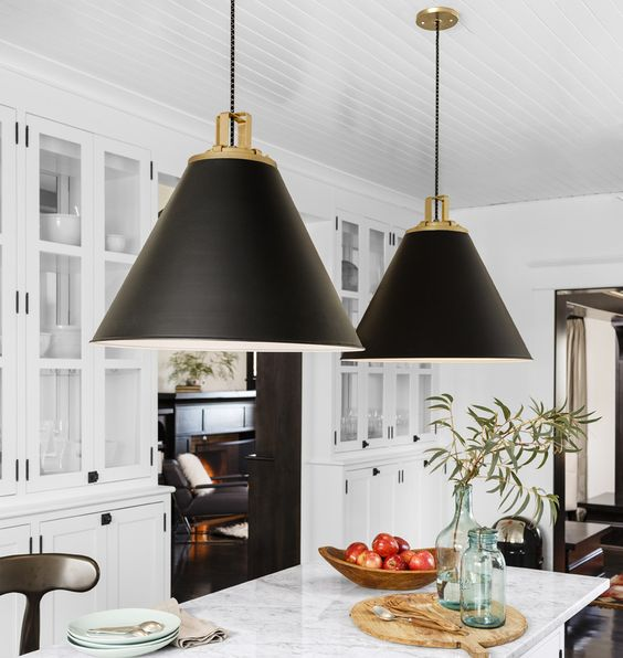 Black And Gold Kitchen: Pendants, Kitchens And Islands On Pinterest