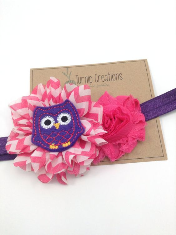 Owl Headband Purple & Hot Pink Headband Ballerina Flower Purple Shabby Flower Chevron Feltie Chevron Photo Prop Newborn Headband Girls