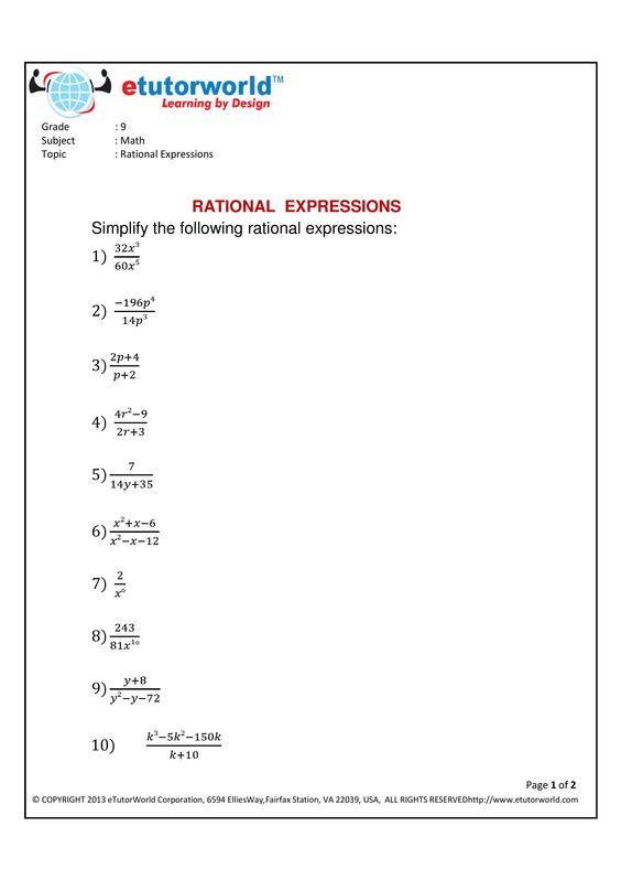 math worksheet : math practice sheet for the topic  simplifying rational  : Math Grade 9 Worksheets
