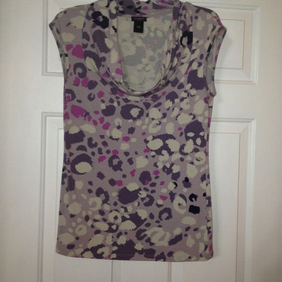Blouse Purple, grey and black cowl top Ann Taylor Tops Blouses