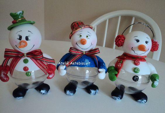 centro de mesa boneco de neve, serve como caixa presente pra peças pequenas.
