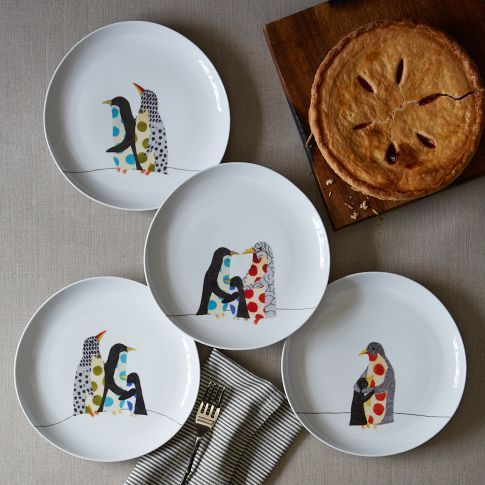 Penguin Friends Dessert Plates | west elm  $6/set of 4 plates  I'd like 4 sets in case of breakage!