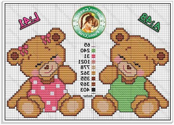 Ângela Bordados: Boa tarde, olhem estes ursinhos, são muito fofos...