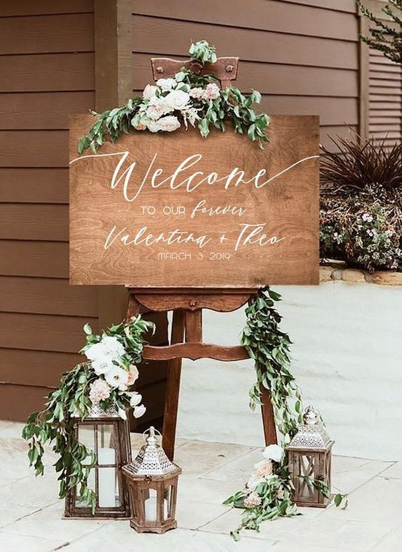 Simple DIY Wedding Decoration Idea For Welcome Sign