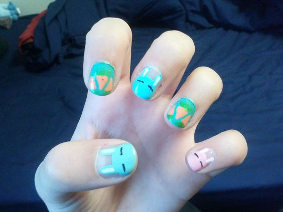 Easter bunny nails. :3 Might need to make carrots thinner next time. Enjoy! ~Sofia Gibbs