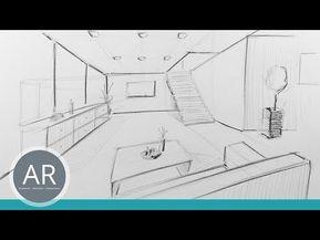 Raum in Zentral Perspektive. Innenarchitektur Zeichnungen