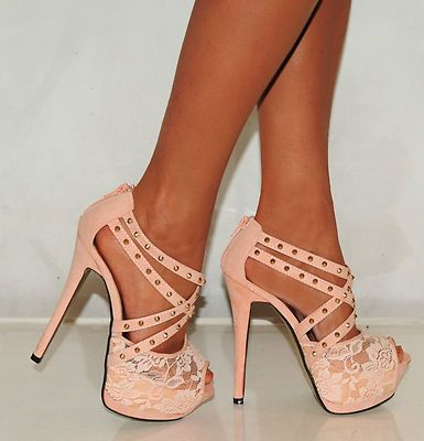 Details about NUDE LACE STRAPPY STUDS STILETTO PLATFORMS HIGH