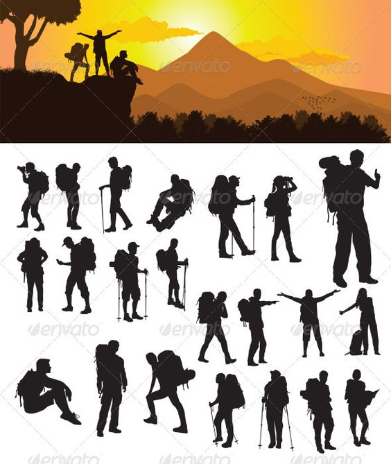 Backpacker Silhouette Bags Nature And Design Templates