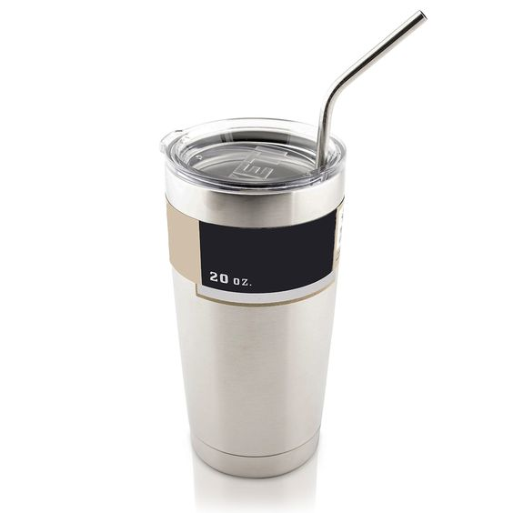 Stainless Steel Straws for Yeti Cups. (4 Bent Straws w/ Cleaner)