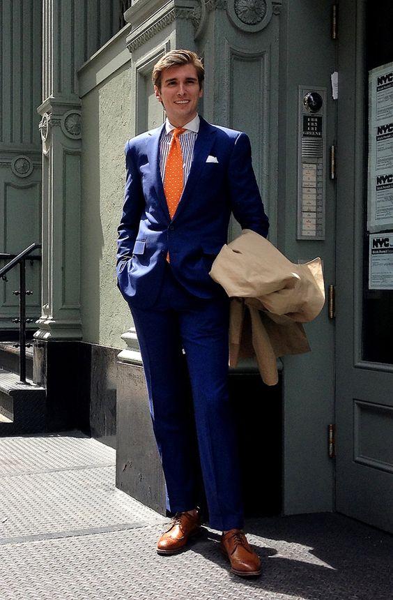 Cobalt blue suit with contrasting orange tie | Men's Fashion