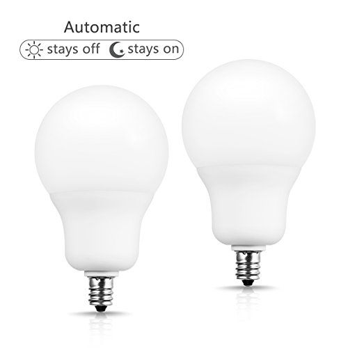 Jandcase Light Sensor Led Bulb E12 Candelabra Base Dusk To Dawn 6w 50w Equivalent 500lm Daylight White 5000k A19 Automatic Indoor Outdoor Lights For Home