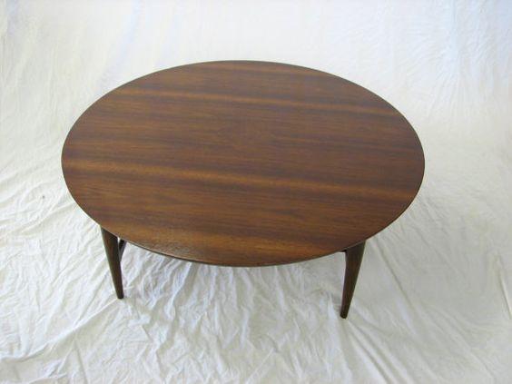 Mid Century Modern Bassett Round Walnut Coffee Table By GreStuff, $289.00 |  Midcentury Modern Furniture | Pinterest | Mid Century Modern, Mid Century  And ...